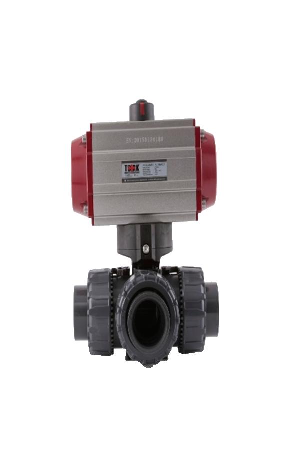 Válvula Bola Tres Vías PVC, CPVC, PPH.  Con Actuador Neumático.