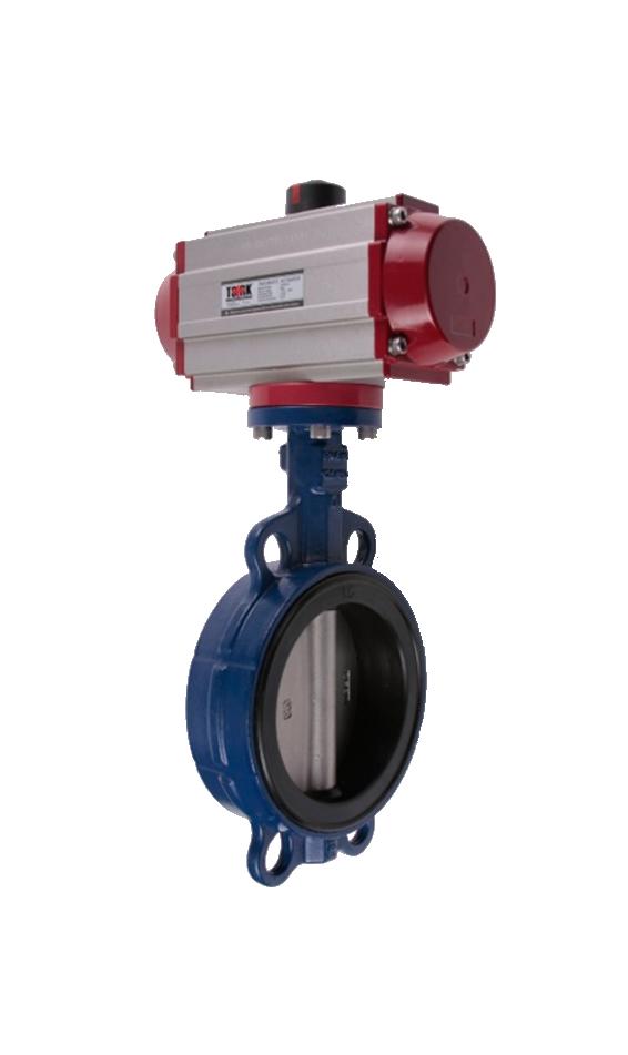 Válvula Mariposa PVC Tipo Wafer  con Actuador Neumático